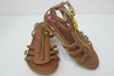New Michael Kors  Girls Flat Leather Sandals Zip Up Size 11
