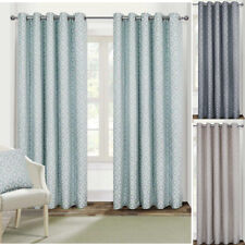 EYELET Ring Top Geometric Helix Fully Lined Jacquard Curtains in 7 sizes