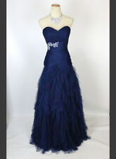 New Jovani 13459 Authentic Navy Ruched-Bodice Prom Dress Pageant Women Gown 6