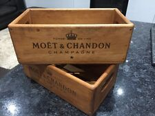 Small  Waxed Wooden MOET & CHANDON  Champagne Antique Vintage Style Crate Box