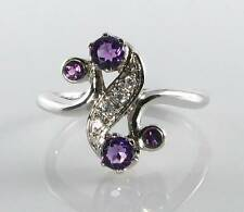 CLASS 9CT WHITE GOLD AMETHYST & DIAMOND ART DECO INS CLEF RING FREE RESIZE