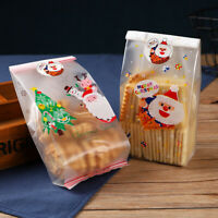 50Pcs Christmas Bag Santa Claus Snowman Cellophane Cookie Fudge Cookie Candy Bag