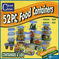 Set Of 52 Food Storage Clip Seal Lock Lids Storage Containers Boxes Plastic