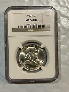 1959 SILVER FRANKLIN HALF DOLLAR ~~ NGC MS64FBL ~~ (029)  ~~ Great Luster ~~