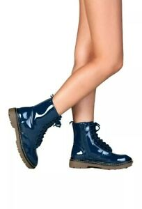 Women's Synthetic SODA Grunge Dr Martens Lace Up Combat Boots blue size 8