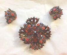 Set Rhinestone Pin Earrings 3pcs Set Rare Vintage Weiss Brown Orange Topaz Prong