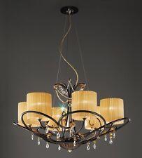 Lampadario classico di design laccato nero con paralumi coll. BELL aida 3013/L6