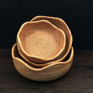 Rattan Bread Basket Wavy Hand-Woven Tea Tray For Dinner Parties Coffee Breakfast