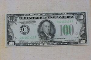 PHILADELPHIA, Fr. 2152-C $100 1934 Dark Green Seal .  Choice Uncirculated