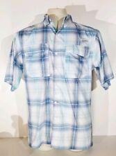 Habit Blue Plaid Fishing Shirt Vented Short Sleeve Sz  Medium