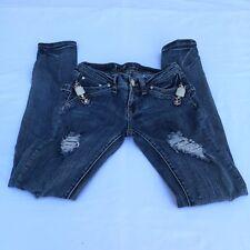 LA Idol Jeans Ripped Bling Jeweled Skinny Women's Jeans  Size 3   28x31