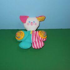 "1994 Fisher-Price 6"" Pink Cheeks Plush Baby Rattle Stuffed Plush Toy #1086"