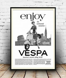 Enjoy Vespa , vintage motor scooter magazine advert  Poster reproduction.