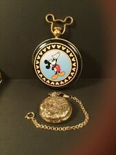 Vintage Disney Mickey Mouse Railroad Train Pocket Watch With Chain and Tin