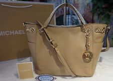 NWT Michael Kors JET SET Chain Gather Shoulder Tote Bag Leather DARK CAMEL $298