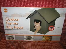 K & H Pet Products Indoor Outdoor Kitty Cat House Unheated Olive Green Two Doors