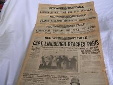 Charles Lindbergh Transatlantic Flight/4 1927 Red Wing Daily Eagle Front Pages