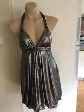 Ladies LOVELY GIRL Metallic Dress Size 10 Short Formal  Halter Silver Drape