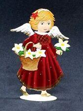 """Wilhelm Schweizer German Zinnfiguren Angel with Flower Basket (2"""" X 3"""")"""