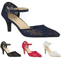 WOMENS LACE MID HEEL FULL TOE POINTED ANKLE STRAP BRIDAL WEDDING EVENING SHOES
