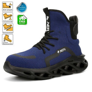 MENS SAFETY TRAINERS SHOES STEEL TOE CAP WORK BOOTS HIKING TRAINERS [BLACK UK 13