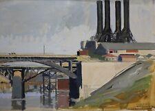 Martial-André Lefebvre(XIX-XX)Le nouveau pont d'Argenteuil Seine Paris Oise