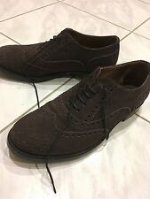 Sax Mens Brown Brogue Suede Lace Up Shoes - Made in Italy Size 40