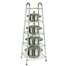 Chrome Pan Stand 5 Tier Kitchen Pot Saucepan Storage Organiser Unit Rack Holder
