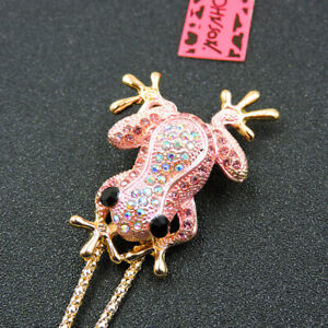Woman's Pink Crystal Enamel Cute Frog Pendant Betsey Johnson Necklace/Brooch