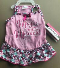 """New listing Wag N' Bone Pink Multi Color """"Maybe I'M A Mermaid"""" Summer Dress Puppy/Dog Medium"""