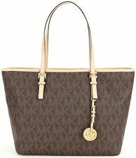 NWT MICHAEL KORS Jet Set Signature Large Zip-top Travel Tote 38F6GTVT3B Brown