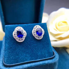 2Ct Oval Blue Sapphire Simulant Diamond Halo Stud Earrings Silver White Gold FNS