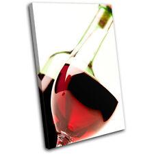 Wine Glass Bottle Food Kitchen SINGLE DOEK WALL ART foto afdrukken