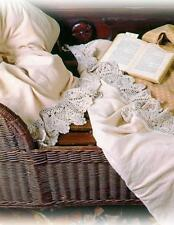 Victorian Style Sweet Cream Flannel  Crochet Lace Soft Bed Sheets,Full Size.
