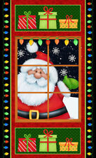 "Christmas Santa Window Snow Jolly Ole St Nick Cotton Fabric HG&Co 24""X44"" PANEL"