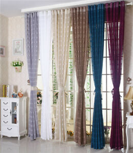 One Piece Plaid Sheer Window Elegance Curtains-Drape-Panels-Treatment Eyelet Top
