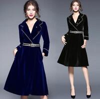 Womens Slim Fit Knee High Velvet Vogue Dress V-neck Long Sleeve Casual Skirts
