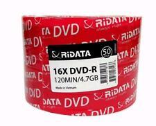 100 RITEK RIDATA Blank16X  DVD-R DVDR Branded Logo 4.7GB Media Disc 2x50pk
