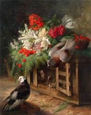 Oil painting Jose Maria Bracho Y Murillo - Doves birds Pigeon & flowers cherry