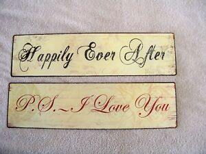 "Pair of metal rustic signs ""Happily Ever After"" and ""P.S. I Love You"""