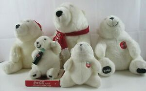 """Lot of 5 Coca Cola Bears 7"""" To 14"""" 19931994 1995"""