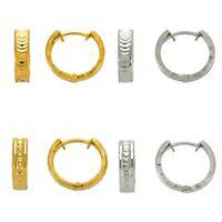 Huggie Earrings 14K Solid Yellow White Gold Women DC Hinged Hoop Earrings