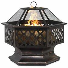 New listing Hex-Shaped Fire Pit 24 Inch Bronze Lattice Design Steel Outdoor Backyard New