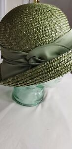 SEEBERGER Moss Green Straw Hat - One Size - Excellent Condition