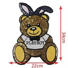 Playboy Teddy Bear Fashion Sequin Embroidered Applique Sew On Patch