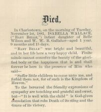 2 Old Death Announcements for Belle Wallace Gallaher 1880 - 1881 West Virginia