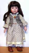 """Sweet 19"""" Old-Fashioned Porcelain & Cloth Doll - Brown Hair & Eyes - VGC"""
