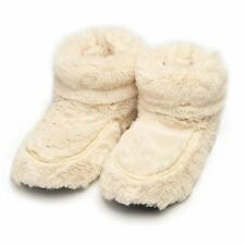 Intelex Cozy Microwavable Boots Cream Heatable Luxury Furry Bed Warmer Slippers