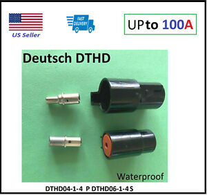 100Amp Deutsch DTHD 1 Pin Way Connector Male & Female DTHD04-1-4P DTHD06-1-4S