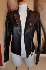 TOP DESIGNER Belstaff Trent Cafe Racer REAL Leather  FITTED BIKER JACKET SIZE 8